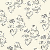 Wedding cakes and hearts pattern — Stock Vector