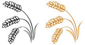 Wheat barley ears — Vector de stock