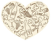 Wine icons in heart — Stock Vector