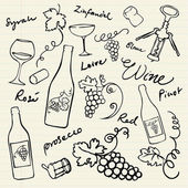 Wine & grapes icons — Vecteur