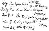 Words Italy ,New york — Stock Vector