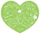 Eco and nature icons in heart — Vector de stock