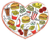 Fast foods  in heart shape — Stock Vector