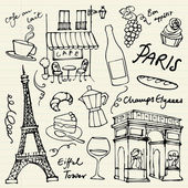 Paris landmarks icons — Vettoriale Stock
