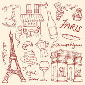 Paris landmarks icons — Stock Vector
