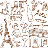 Paris landmarks icons — Stockvektor
