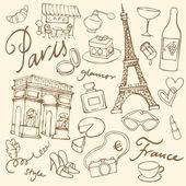 Set of Paris landmarks — Stock Vector