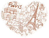 Paris  icons in heart shape — Stockvektor