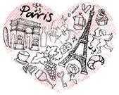 Paris  icons in heart shape — Wektor stockowy