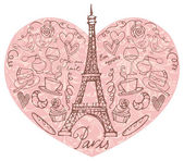 Paris  icons in heart shape — 图库矢量图片