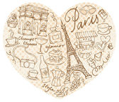 Paris  icons in heart shape — Stock Vector