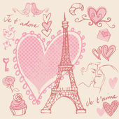 Love and romance in Paris — Vector de stock