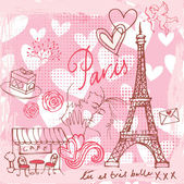 Love and romance in Paris — Stockvector