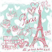 Love and romance in Paris — Cтоковый вектор