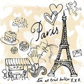Love and romance in Paris — Stockvektor