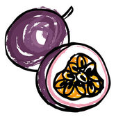 Whole and sliced passion fruit — Stock Vector