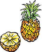 Whole and cut pineapple — Stock Vector