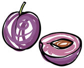 Whole and sliced plums — Stock Vector