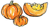 Whole and sliced pumpkins — Stock Vector