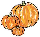 Whole pumpkins — Stock Vector