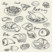 Meat icons — Vector de stock