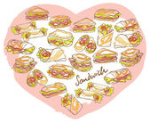 Sandwiches  in heart shape — Stock Vector