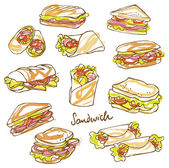 Sandwich doodle background — Stock Vector