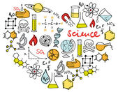 Science icons in heart — Wektor stockowy
