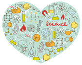 Science icons in heart — ストックベクタ