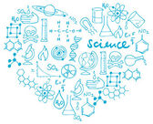 Science icons in heart — Stock vektor