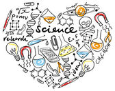 Science icons in heart — Stockvector