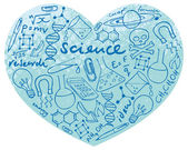 Science icons in heart — Vettoriale Stock