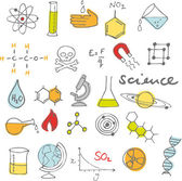 Science doodles set — Stock vektor