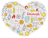 Science icons in heart — 图库矢量图片