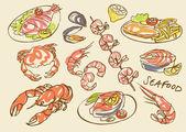 Seafood set — Stock Vector