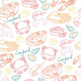 Seafood  pattern — Stock Vector