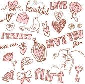 Love doodle set — Stock Vector