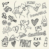 Love and romance doodles — Vector de stock