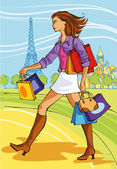 Woman shopping in paris — Stock Vector