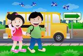 Kids go to school — Stockfoto