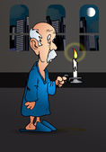 Old man holding a candle — Stock Photo