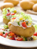 Baked stuffed potato — Stock Photo