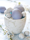 Easter eggs with cherry blossom — Stock Photo
