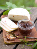 Fig jam with cheese — Stock Photo