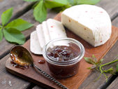 Fig jam with cheese, — Stock Photo