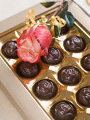 Rose and chocolate candies — Stock Photo