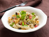 Pasta with eggplant and chili sauce — Stock Photo
