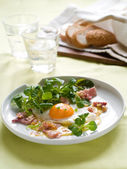 Egg with lettuce and bacon — Stock Photo