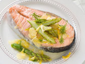 Steamed salmon — Stock fotografie