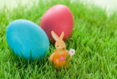 Easter eggs and rabbit — Stock Photo